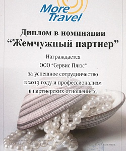 Диплом от компании More Travel